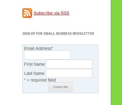 Subscribe to this Small Business Blog via RSS or E-mail