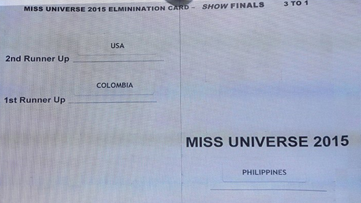 Miss Universe 2015 Card with Bad Design